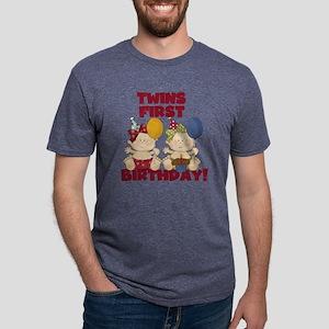 Twin Girls First Birthday Mens Tri-blend T-Shirt
