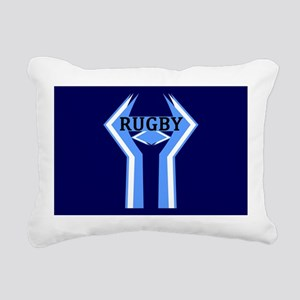 Rugby Blue and White Rectangular Canvas Pillow