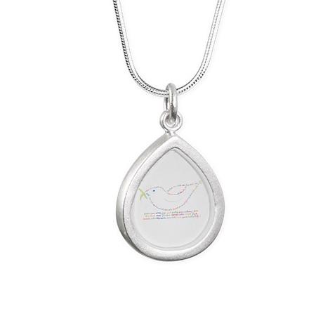 Peace Dove Silver Teardrop Necklace