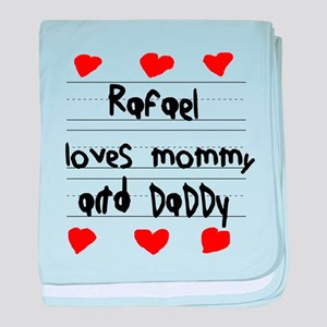 Rafael Loves Mommy and Daddy baby blanket