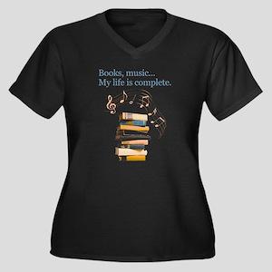 Books and music Women's Plus Size V-Neck Dark T-Sh