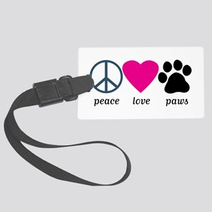 Peace Love Paws Large Luggage Tag
