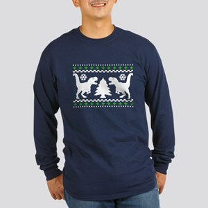 FUNNY! Ugly Holiday Dino Sweater Long Sleeve Dark