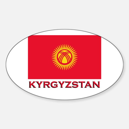 Kyrgyzstan Flag Merchandise Oval Decal