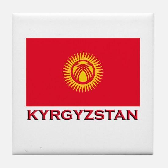 Kyrgyzstan Flag Merchandise Tile Coaster