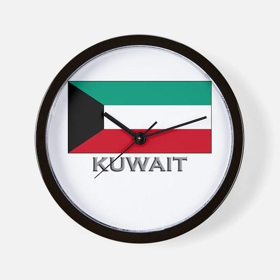 Kuwait Flag Stuff Wall Clock