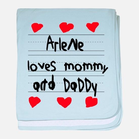 Arlene Loves Mommy and Daddy baby blanket
