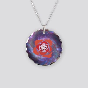 Galaxy Rose Necklace Circle Charm