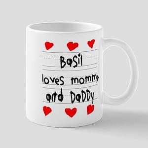 Basil Loves Mommy and Daddy Mug