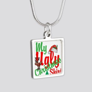 Ugly Christmas Shirt Silver Square Necklace