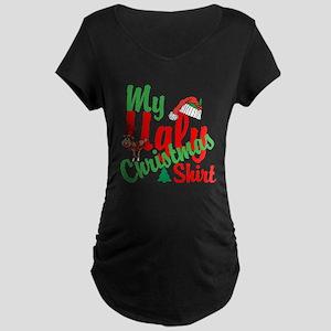 Ugly Christmas Shirt Maternity Dark T-Shirt
