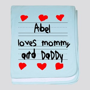 Abel Loves Mommy and Daddy baby blanket