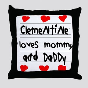 Clementine Loves Mommy and Daddy Throw Pillow