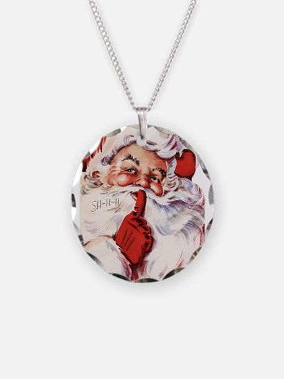 Vintage Santa Necklace Circle Charm