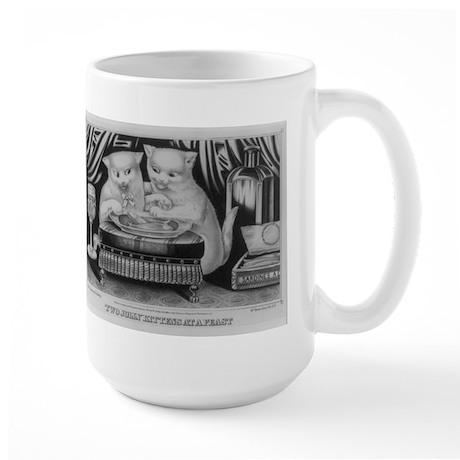 Vintage Print of Two Kitties Dining Large Mug