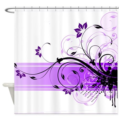 purple floral band shower curtain by ibeleiveimages. Black Bedroom Furniture Sets. Home Design Ideas