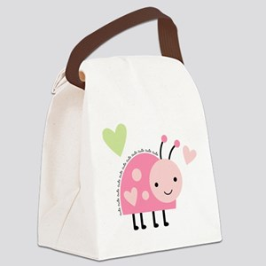 Pink Ladybug Canvas Lunch Bag