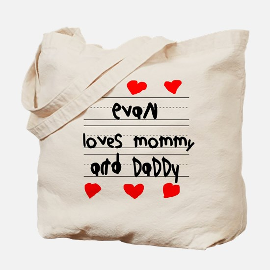 Evan Loves Mommy and Daddy Tote Bag