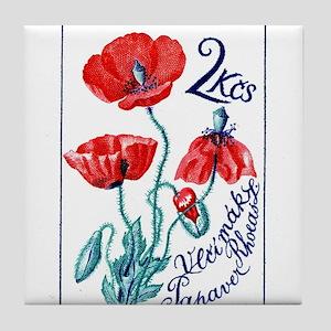 1964 Czechoslovakia Poppy Flower Stamp Tile Coaste