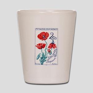 1964 Czechoslovakia Poppy Flower Stamp Shot Glass
