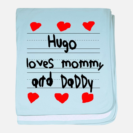 Hugo Loves Mommy and Daddy baby blanket