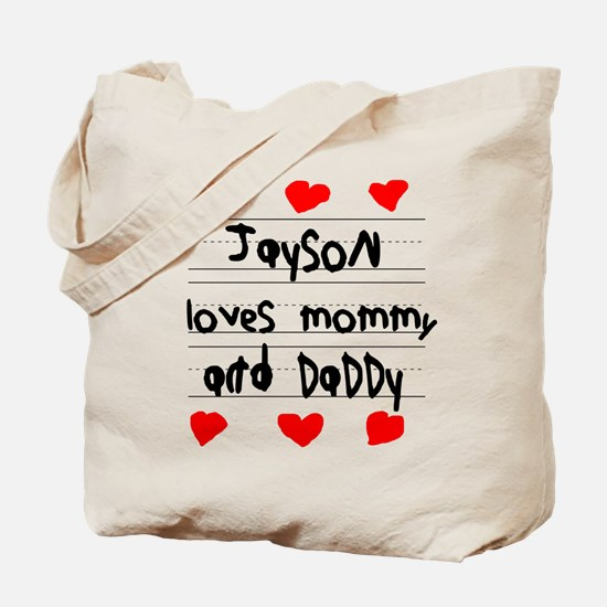 Jayson Loves Mommy and Daddy Tote Bag
