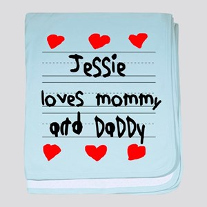 Jessie Loves Mommy and Daddy baby blanket