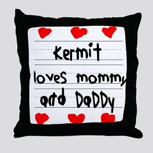 Kermit Loves Mommy and Daddy Throw Pillow