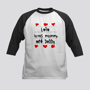 Laila Loves Mommy and Daddy Kids Baseball Jersey