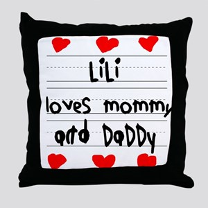 Lili Loves Mommy and Daddy Throw Pillow