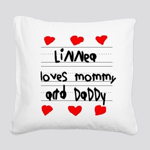 Linnea Loves Mommy and Daddy Square Canvas Pillow