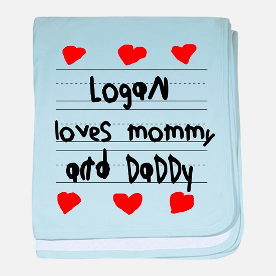 Logan Loves Mommy and Daddy baby blanket