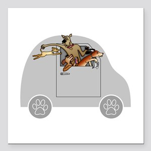 """Riding in Cars with Dogs Square Car Magnet 3"""" x 3"""""""