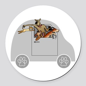Riding in Cars with Dogs Round Car Magnet