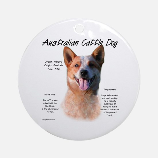Cattle Dog (red) Round Ornament