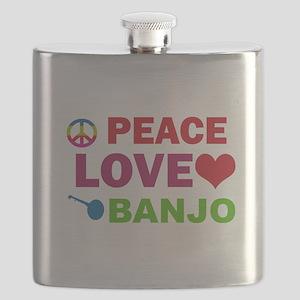 Peace Love Banjo Flask