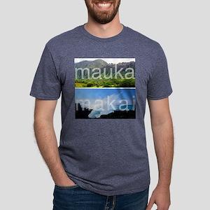 Mauka Makai Hawaii Print Mens Tri-blend T-Shirt