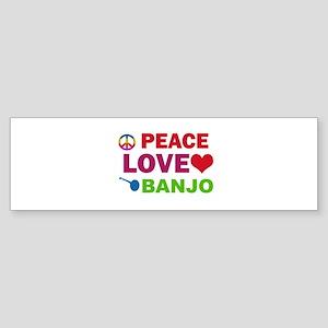 Peace Love Banjo Sticker (Bumper)