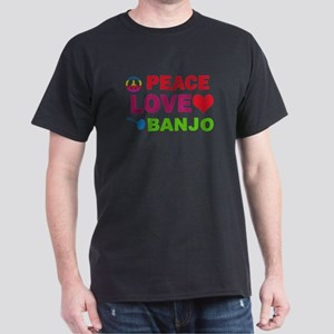 Peace Love Banjo Dark T-Shirt
