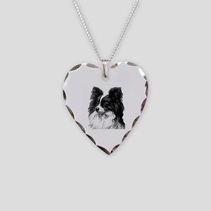 Vintage Papillon Necklace Heart Charm