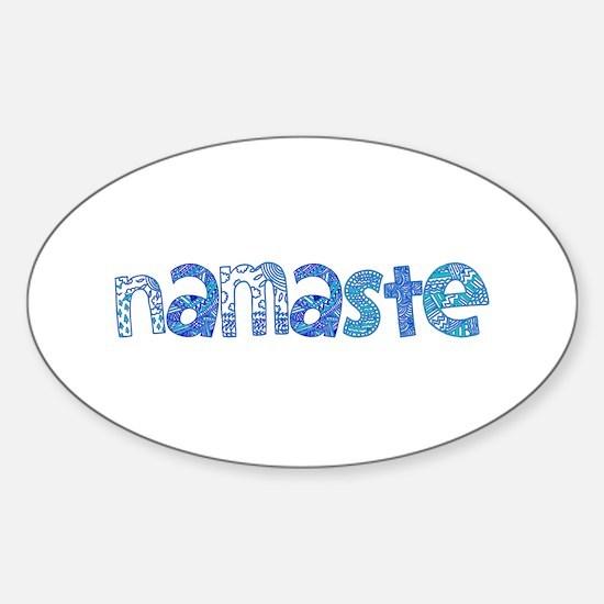 Blue Tribal Namaste Sticker (Oval)