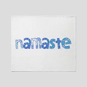 Blue Tribal Namaste Throw Blanket