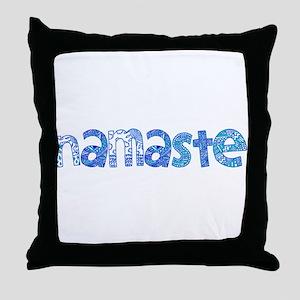 Blue Tribal Namaste Throw Pillow