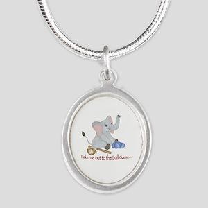 Baseball - Elephant Silver Oval Necklace