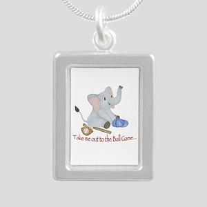 Baseball - Elephant Silver Portrait Necklace