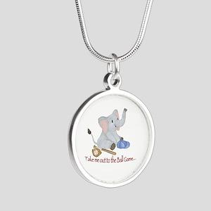 Baseball - Elephant Silver Round Necklace