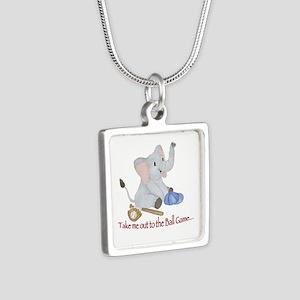 Baseball - Elephant Silver Square Necklace