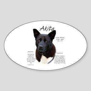 Akita (black) Sticker (Oval)