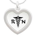 RN Nurse Medical Symbol Silver Heart Necklace