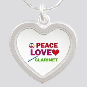 Peace Love Clarinet Silver Heart Necklace